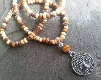 SALE Bohemian beaded necklace brown Tree of life charm silver beads wooden beads Tiger's Eye forest autumn winter woodland fantasy pixie elf