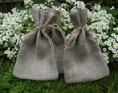"Natural Grey Linen Favor Bags 3 1/2""x6"" Set of 30"