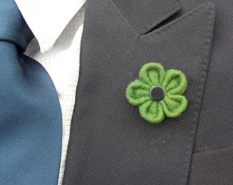 The Boston- Wool Lapel Flower//Boutonniere// Men's Lapel flower//Lapel pin//Wedding//Green Wool