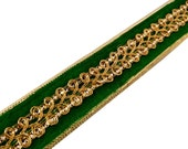 Emerald Green and Gold Sequinned Velvet and Jari Ribbon / Trim / Lace by Yard