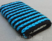 Phone Sock Cozy Pouch- Aqua Blue and Black, Iphone, HTC, Samsung Galaxy