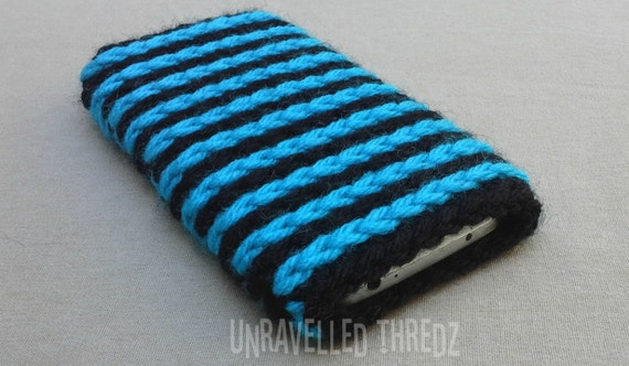 Phone Sock Cozy Pouch- Aqua Blue and Black, Iphone, HTC, Samsung Galaxy