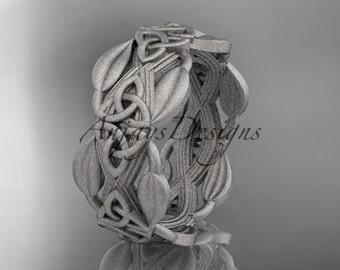 14kt white gold celtic trinity knot matte finish wedding band, engagement ring CT7259B
