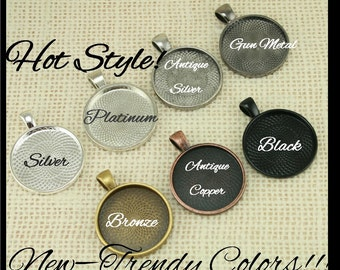 10 Kits-25mm GLASS (10), PENDANTS (10), 1 inch SEALS (10 or 20) - Photo Glass Jewelry, Pick your supplies. 8 Neutral Colors
