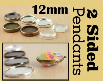 10 Two Sided Pendant Blank  12mm Bezel Tray - 2 Sided Pendant Charm-Optional  20 Glass pcs and Seals 20 or 40 count.  Ships from USA