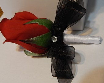 Boutonniere - Red Rose Boutonniere-  Customized to your wedding colors