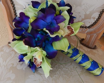 Orchid Wedding Bouquet- Blue Orchid Bridal Bouquet and Mens Boutonniere