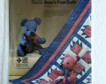 Large and Small Teddy Bear and Bear's Paw Wall Quilt Sewing Pattern