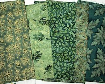 5 Greens Christmas Cotton Fabric