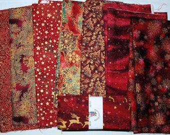 8 Reds Christmas Cotton Fabrics