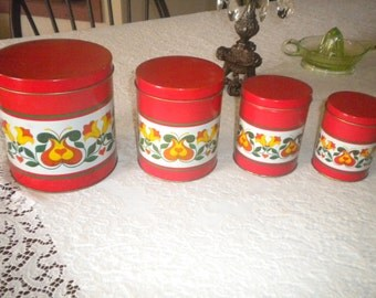 Vintage 4 pc. Tin Canister Set, Made in Brazil, French Country, Art Deco