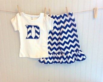 DUKE BLUE CHEVRON ruffled pant set. Top available in tank, short or long sleeves.