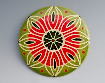 Sweet Briar College Fundraiser: Ceramic Trivet by LGG Creative Art, Pink and Green, Floral Design--Style #2