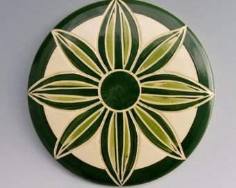 Sweet Briar College Fundraiser: Ceramic Trivet by LGG Creative Art, Dark and Light Green, Floral Design--Style #5