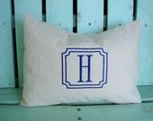 Monogram pillow cover- cotton twill-initial- housewarming gift-decorative pillow cover-dorm room-throw pillow-nursery pillow-accent pillow