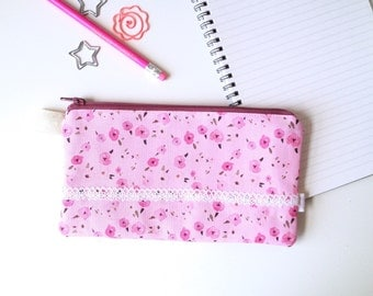Floral Ditsy Pink Divided Pencil Case (handmade philosophy's pattern)