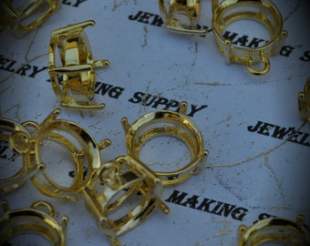High Quality 14mm Brass Gold Plated Prong Settings