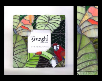 "Jungle Theme - 3.5"" x3.5"" Stained Glass Mosaic Picture Frame"