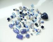 BULK Indigo Blue & Sapphire Swarovski-Sodalite Heart Pendant-Bicone-Rice-Sodalite-Pearls-Cube-Rondelle-Silver-Chips-4-20mm- Over 145 beads