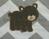 Small brown bear - iron embroidered fabric applique patch embellishment-