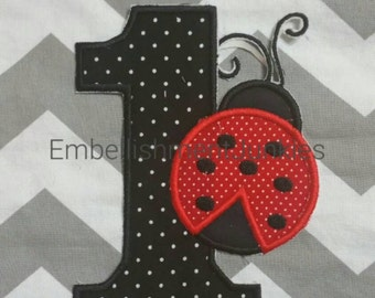 Large black and white polka dot number one with red ladybug. Iron embroidered fabric applique patch embellishment-ready to ship