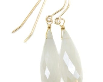 Chalcedony Earrings White Mystic faceted Long Teardrop 14k Gold Filled or Sterling Silver Large Briolettes Rounded Drops Rare Color