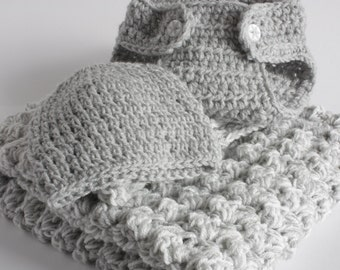 Reserved for Laevans Grey and cream. Extra thickness handmade crochet  layette  Ideal Christening / shower /layette /new baby boy/girl gift.