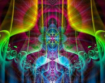 MULTIVERSE Cosmic Body - Tapestry, Wall Hanging - Original Spiritual Art, Visionary, Psy, Shamanic, Sacred Geometry, Entheogenic Art