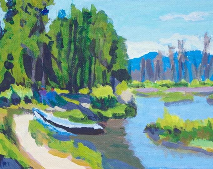 Original Oregon Art Fishermens Paradise East Davis Lake CG Small Acrylic Painting 6x9 in