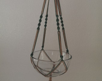 """Hand Crafted Macrame Plant Hanger- Sage and Tan 35"""""""