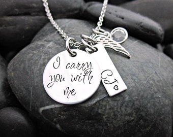 Memorial Necklace - I carry you with me - Personalized