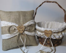 Rustic Flower Girl Basket and Ring Bearer Pillow Set - Burlap and Ivory Lace - Personalized For Your Wedding Day