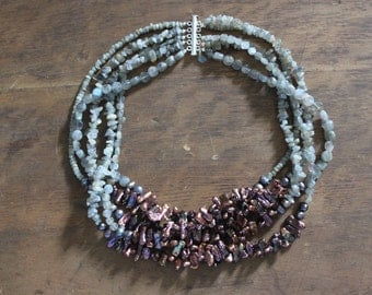 Labradorite and Freshwater Pearl Multi Strand Statement Necklace