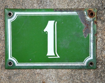 Vintage French, French house number, House No 1, green and white, green enamel, vintage enamel, vintage house number, number 1,