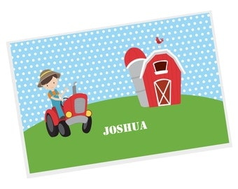 Farm Personalized Placemat - Farm Boy Blue Polka Dot Green Grass with Name, Customized Laminated Placemat