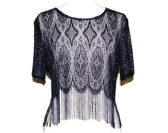Vintage 90s SHARADE of CALIFORNIA Cropped Navy Blue & Metallic Knit Fringe Top- Size 12
