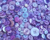 "100 Mixed Periwinkle, Lilac, Lavender, Light Purple, and Violet Buttons, bulk buttons with gift wrap, includes multi sizes 1/4"" up to 1-1/2"""