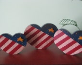 Hearts,  patriotic, shelf sitters, red, white and blue, handpainted, star, prim