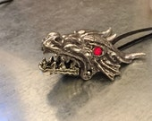 Dragon Necklace, Fire Breathing Dragon Necklace, Gothic Dragon Necklace Style, Fierce Dragon, Dragon Jewelry, Dragon Charm, Silver Dragon