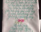 flower girl hankie Embroidered Flower girl hankie Keepsake flower girl wedding hankie from bride to her adorable flower girl