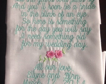 flower girl hankie Embroidered Flower girl hankie Keepsake flower girl wedding hankie from bride to her adorable flower girl