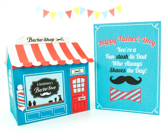 Barber Gifts : Card And Barber Shop Gift Box Set, Printable PDF Gift Box Kit, Gift ...