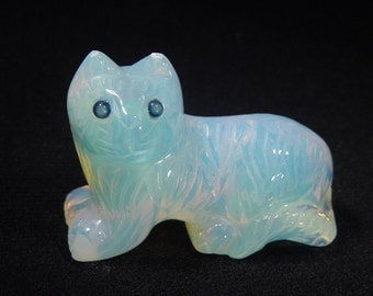 Opalite feline kitty cat lapidary carving statue 5261C
