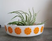 Vintage Federal Milk Glass Bowl with Orange Flowers, 8 Inch
