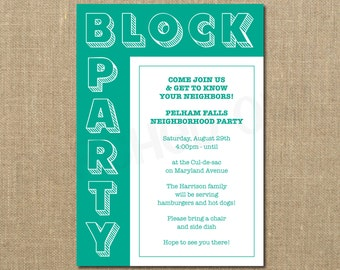 Neighborhood Block Party - Cookout Invitation - Grilling Out - Community Gathering - Digital File