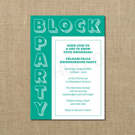 Neighborhood Block Party Cookout Invitation Grilling Out