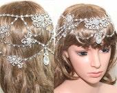 Vintage Victorian Wedding Art Deco Teardrop Flower Butterfly Dangle Silver Tone Wedding Bridal Rhinestone Crystal Hair Chain Tiara Headpiece