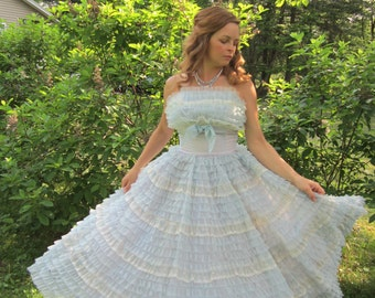 50's Prom Dress 1950s Blue Frilly Cupcake Dress Vintage 1950's 50s Bombshell Strapless Tiered Chiffon Organza Lace Party Prom Dress