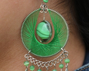 Green Thread Earrings with Recycled Glass Centerstone