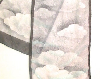 Vintage Painted Sheer Scarf Cloud Print